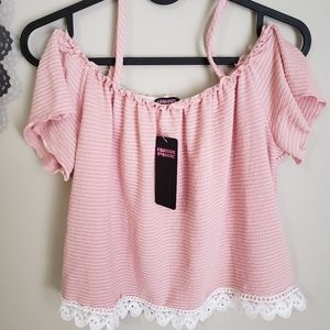 FAMOUS PINK | Frilly preteen top (midriff)